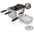 Electric Deep Fryer Cooker Home Countertop Dual Basket Fries 4 L Stainless Steel photo