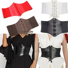 Women Leather Waist Belt Cincher Corset Black Wide Band Elastic Tied Waspie Belt