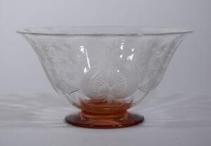 Steuben Engraved Cut Glass Van Dyke Bowl with Rosa Base