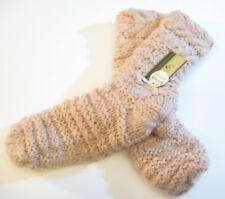Lemon Ladies Knit Faux-Fur Lined Slipper Socks w Grippers Shell Pink - NEW