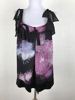 Diane Von Furstenberg Blouse Black Silk Chiffon Pink Blue White Size 6 Tank Top