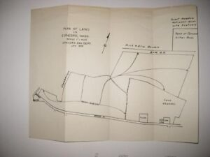 ANTIQUE 1959 CONCORD MASSACHUSETTS LAND MAP CAVE RAILROAD CEMETERY FILTER BEDS N