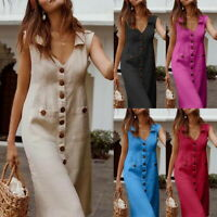 Summer Women Casual Solid Dresses Loose Sleeveless V-Neck Pockets Long Dress