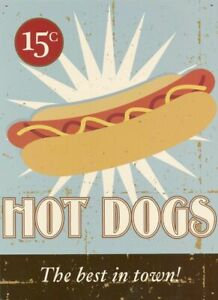 Tin Sign Hot Dogs The Best In Town! Sky Blue 30 X 41cm