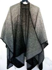 Damen Herbst Winter Poncho Überwurf Wende Cape grau schwarz melange Neu