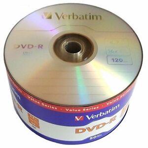50 VERBATIM Blank DVD-R DVDR 16X 4.7GB Recordable Logo Branded Media Disc