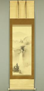 南保秋渕 NANPO SHUEN Japanese hanging scroll / WATERFALL & BIRDS LANDSCAPE I568