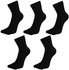 Mens Cotton Toe Socks Five Finger Running Sports Socks With Toes, 5 Pairs, Black