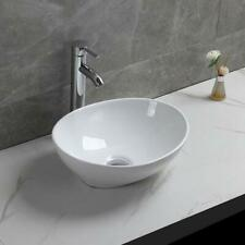 Modern Bathroom Counter Top Ceramic White Basin Cloakroom Gloss Wash Sink Oval