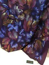 Echo Womens Scarf Foliage Print Autumn Shades Burgundy Background Polyester NWT