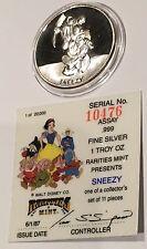1987 Sneezy Disney's Snow White & 7 Dwarfs Coin 1 Troy Oz .999 Fine Silver Proof