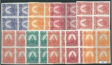 70811- HONDURAS - STAMPS:  1890 NON ADOPTED Colour proofs Blocks of 4 PIRAMIDS
