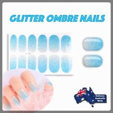 Ice Blue Glitter Gradient Ombre Nail Stickers Full Cover Wrap Decals