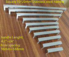 """10mm*20mm Brush Square Stainless Steel Kitchen Door Cabinet Handle 2""""~24''"""