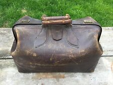 Vintage Brown Leather Shabby Distressed Doctors Bag by MC Lilley Co Columbus OH