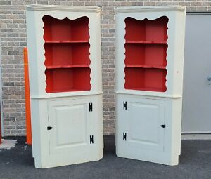 Pair Painted White Early 20th Century Country Primitive Corner Cabinet Cupboards