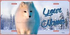 WHITE SNOW ARCTIC FOX PAINTING ART License Plate,  Made in USA by The Artist