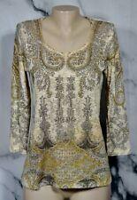 REBA Beige Gold Multicolor Patterned Lightweight Embellished Sweater Medium USA