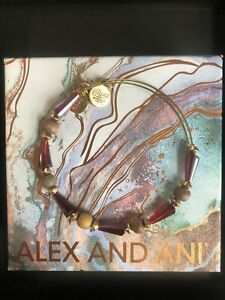 ALEX AND ANI Crystal and Wood Bead Expandable Bracelet Red NWOT