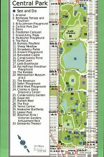 Map of Central Park, Manhattan New York City, Zoo The Pool Carousel etc Postcard