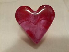 ***FIRE AND LIGHT RECYCLED ART GLASS PINK/RED HEART PAPERWEIGHT (SMALL BLEMISH)
