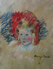 Classic Figure Pastel Painitng w COA, signed Mary Cassatt, Monet era Rare uniqe