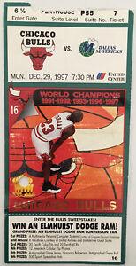 Chicago Bulls Dallas Mavericks Ticket Stub (Dec. 29, 1997, United Center)