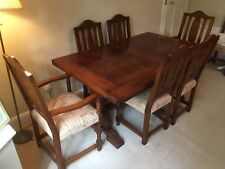 Exceptional quality solid oak dining table and 8 chairs by Rackstraw