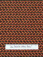 Moda Halloween Fabric - Pumpkin Party Deb Strain Candy Corn Stripe Black /Yd
