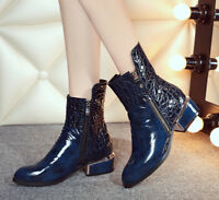 NEW Women's Patent Leather Zip Ankle Boots Pointy Toe Fashion Shoes Small Size