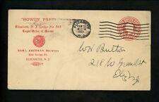 US Postal History #U49 CC Advertising Moose Fraternal Org. 1921 Elizabeth NJ