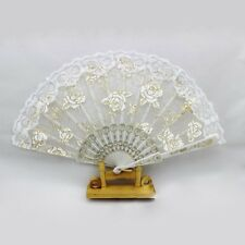 White Mini Floral Lace Hand Held Fan Folding Fans Wedding Birthday Party Favors