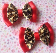 Pair Skull Printed Fabric Shoe Bow Clips Accessories Fun Retro Summer Rockabilly