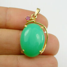 Natural Australian Chrysoprase & Ruby Pendant Genuine 750 18K 18ct Yellow Gold