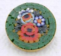 Vintage Italy Gold Toned Filigree Green Micro Mosaic Flowers Glass Pin Brooch