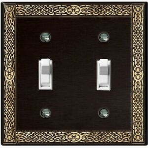 Metal Light Switch Cover Wall Plate Elegant French Victorian Frame Black FRA015