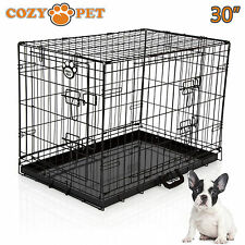 Dog Cage Cozy Pet Puppy Crate Black Folding fabric 30 inch Medium Dog Crate