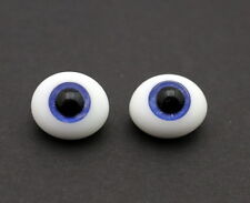 Vtg IMSCO Glass Paperweight Doll Eyes 18mm Blue Pinch Back Oval