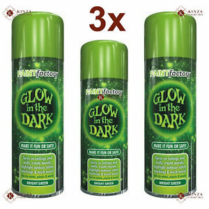 3 x 300ml Rapide Glow In The Dark Bright Green Luminous Aerosol Spray Paint New