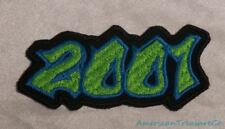 Embroidered 00s Hip Hop Graffiti Style Lime Green & Blue 2001 Year Patch Iron On