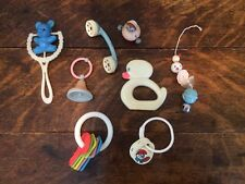 Vintage Baby Plastic Crib Toy & Rattle Lot - Duck, Phone, Bell, Bear, Smurfs!!