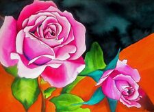 ORIGINAL ART - Pink Roses with orange watercolour