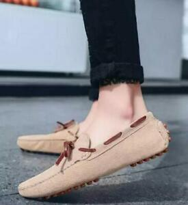 Mens Slip Ons Loafers Leisure Casual Driving Shoes Outdoor Moccasins Bow Knot D8