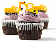 ✿ 24 Edible Rice Paper Cup Cake Toppings, Cake decs - Construction vehicles ✿