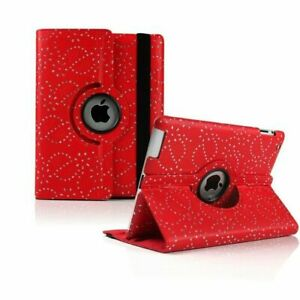 Bling Diamond Leather Rotate Stand Case Folio Cover For Apple iPad Air 2 Red