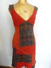 Boho Sweater Dress Red Patchwork Mini Med Boho NWT Custom
