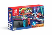 NEW Nintendo Switch Mario Tennis Aces Neon Blue Red Console 1-2 Switch Bundle