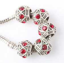 Retro silver 5pcs CZ big hole spacer beads fit Charm European Bracelet #F366