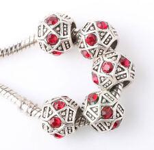 Retro silver 5pcs CZ big hole spacer beads fit Charm European Bracelet #B366
