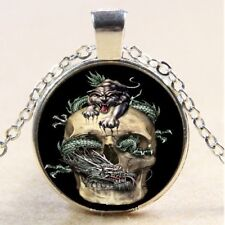 Awesome Dragon Tiger & Skull Silver Glass Cabochon Pendant Necklace + Free Gift